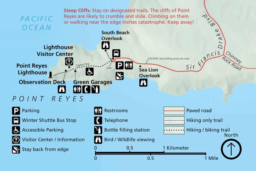 Map of Point Reyes National Seashore and surrounding vicinity